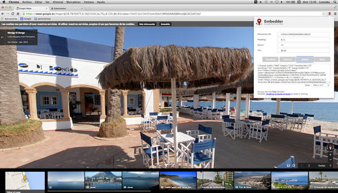 Plugin para embeber Google street view desde chrome